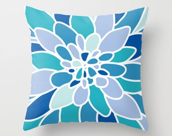 Blue Dahlia Flower pillow with insert Cover - Modern Home Decor - By Aldari Home - Shades of Blue