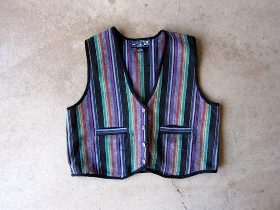 Ethnic Woven Vest Colorful Indian Vest Top Striped Black Pink Green Vest Jacket Oversized Woven Cotton Bohemian Boho Hippie Vintage 2XL