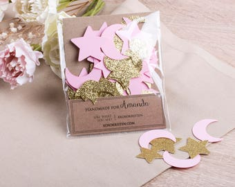 Set of Twinkle Twinkle Baby Shower Confetti, Pink and Gold Birthday Confetti, Moon and Star Confetti Party Decorations, Girl Baby Shower