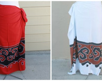 White or Red-Tapa,Tahitian pareo, dance fabric, pareo, costume,Red, Black and rust, rayon, fringeless