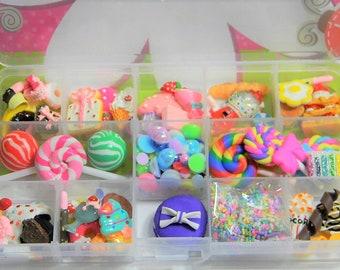 Sale 100 Pieces Mixed Flatback Sweet Treats Food Desserts Kawaii Cabochons Faux Pearls Hearts Plus Storage Box Case DIY Deco Kit