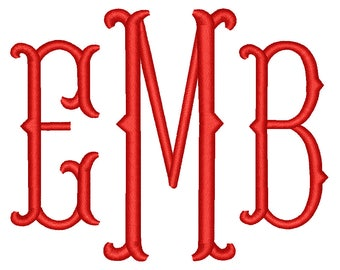 SALE** Fishtail Monogram Embroidery Font 4 Sizes Machine BX Embroidery Fonts Embroidery Monogram Fonts 3 Letter Monogram - Instant Download