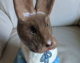 VIntage Paper Mache Tall Rabbit in blue and white dress, 16.5 inch tall.