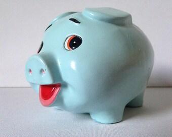 Vintage Piggy Bank, Ceramic Piggy Bank, Piggy Money Box, Pig Gift, Money Box, Blue Piggy Bank, Small Piggy Bank, Ceramic Pig, Piggy Bank