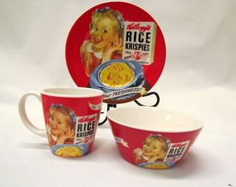 2005 Kelloggs Rice Krispies Plate Cereal Bowl Coffee Cup Breakfast Service Set