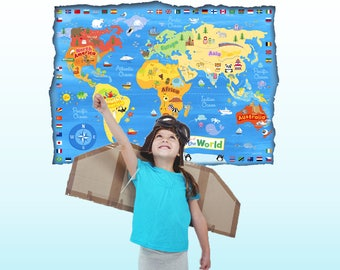 World map decal countries of the world map kids country kids world map decal map wall decal sticker kids map poster educational posters children room decal gumiabroncs Image collections