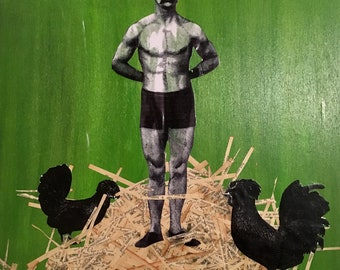 Collage, man with rooster and chicken