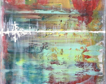 Colorful Abstract Vibrations Of Color Original Painting by Artist Rafi Perez Mixed Medium on Canvas 24X36