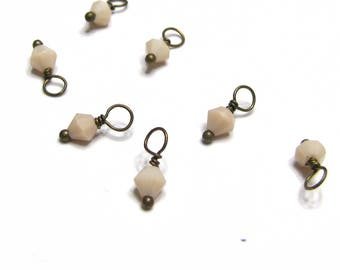 10PC. Ivory Austrian Crystal Bead Dangle Charm/Delicate handmade Crystal Bead Charm/Antique Bronze Tone Bead Dangle
