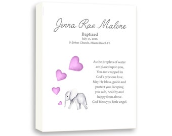 Baby Baptism Wall Art Gift, Canvas Art Gift, Dedication Gift From Godparents