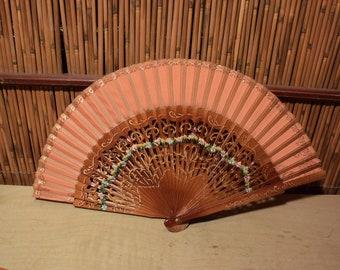 Vintage European Folding Fan Wood Lacquer Handpainted Flower
