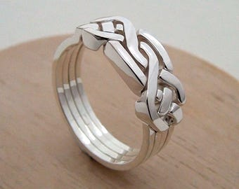 HOLISTIC - Unique Puzzle Rings by PuzzleRingMaker - Sterling Silver or Gold - 4 Bands