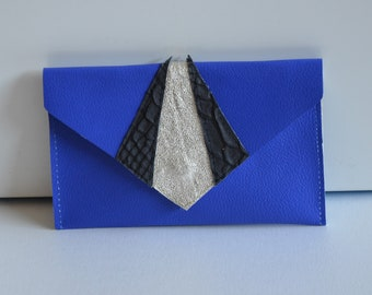 Blue leather wallet gold and black