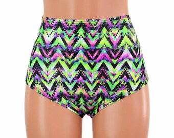 "High Waist ""Siren"" Hot Pants in UV GLOW Chevron Candy Print Spandex Rave Festival Clubwear Bright Neon Mountains Zig Zag Vibes - 154687"