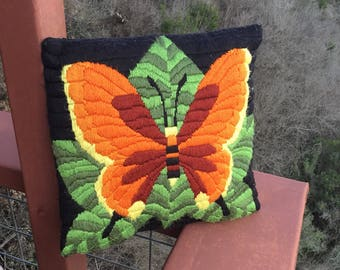 Vintage Handmade Embroidered Pillow, 1970's Butterfly Decorative Pillow