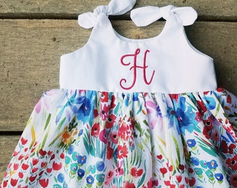 Girls floral Dress, baby girls, coming home outfit, watercolor flower, summer dress, monogram, monogrammed dresses, Shelby Jane, boho baby