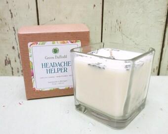 Headache Helper Soy Candle - 12 oz. Glass Cube - Green Daffodil - Hand poured -CG
