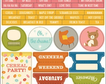 October Afternoon Saturday Mornings Word Stickers -- MSRP 2.40