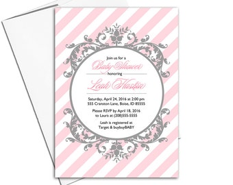 baby girl baby shower invitation girl printable - pink and gray baby shower invite - pink stripes - WLP00774