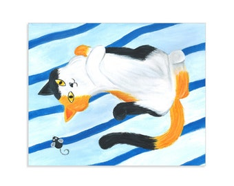 Playful Kitty - Calico Cat Painting Print