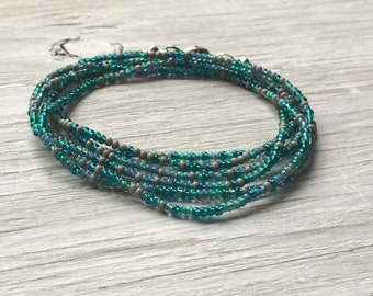 Long seed bead necklace, layering bracelet, simple necklace teal and gray glass beads