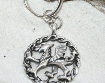 Pewter Wales Red Dragon Welsh Flag Keychain Key Ring (24G)