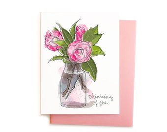 Thinking of You, Sympathy Greeting, Soft Pink and Green Camellias