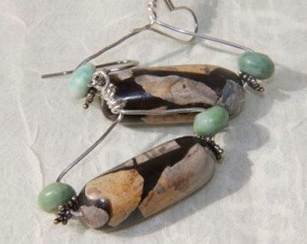 Earrings Brown black beige turquoise  dangling earrings ceramic glazed focal bead Turquoise bead sterling findings