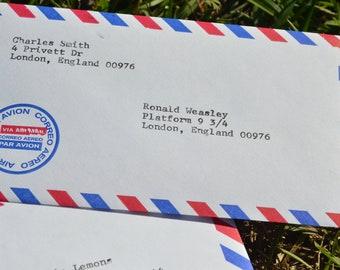 Personalized HANDTYPED Airmail Envelopes/CUSTOMIZABLE on Typewriter/Handtyped/Vintage Envelopes