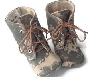 Army Baby Combat Boots | ACU Camo | Newborn size up to 4T | FREE Shipping in the US