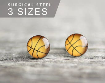 Basketball post earrings, Surgical steel stud, Sport earring studs, mens earrings, earrings for men, gift for him
