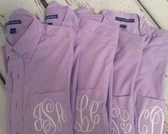 Personalized Lavender Mens Shirts, Bridesmaids Gifts Oversized Mens Shirts, Monogrammed Oversized Shirts, Monogrammed Bridal Party Shirts
