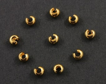 24K Gold Vermeil over Sterling Silver  Crimp Bead Cover 3mm,  1 Pack of 50 Pieces,   (VM/754/3)