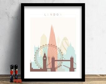 London Skyline, Print, Watercolor Print, London Wall Art, Watercolor Art, City Poster, Cityscape, Home Decor, Gift PRINT