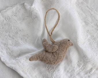 Felt Bird Ornament, Brown Wool Felt Bird, Felt Bird, Felted Wool Bird Ornament