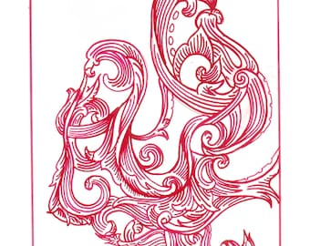 "Octopus Drawing - Cephalopods and Script  - Fine Art Giclee Print of 5""x7"" Scrollwork Drawing in Red Ink"