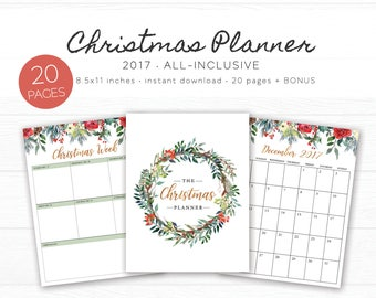 2017 Christmas Planner Printable - Holiday, Planner Insert, Holiday Planner, Christmas Organizer, Holiday Countdown, Planner Download