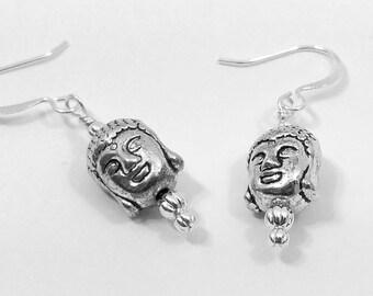 Silver Buddha Earrings, Boho Jewelry, Tibetan Jewelry