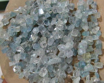 1 Strand  Aquamarine Natural  Rough  Faceted   beads  8'' 16, grams 6X7, 7X12 MM