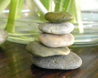 Lovely Natural Beach Stone Stack 5 Pretty Ocean Rocks Zen Garden Sculpture Home Decor Fountain Meditation Yoga Gift Rock Art Spring Sea