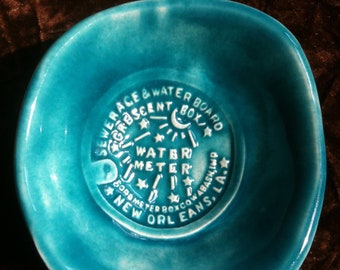 New Orleans Water Meter glacier blue handmade Pottery Bowl