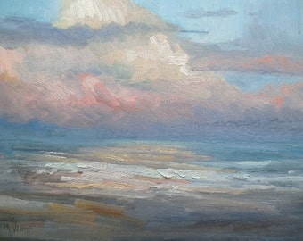"Impressionist Seascape,  Sunrise Painting, Surf, Pink, blue, 11x14x1.5"" Oil, Free Shipping ing US"