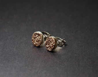 Tiny Rose Gold Druzy Earrings, Small Druzy Agate Studs
