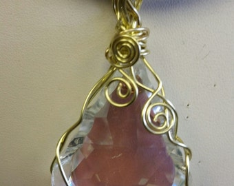 Wire wrapped Crystal Drop Pendant