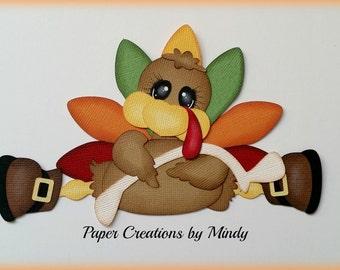 Elite4u Mindy Thanksgiving Turkey Wishbone Premade paper piecing for scrapbook page