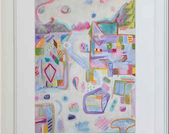 Abstract Art, Pastels, Colourful Painting