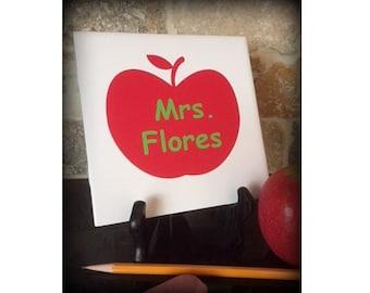 Teacher Gift, Teacher's Apple Sign, Teacher Name Sign, Porcelain Tile with Easel, Tile Sign, Apple for the Teacher Sign, Classroom Decor