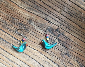 Vintage Painted Wood Beaded Blue Parrot Earrings, Bird Earrings, Tropical Earrings, Boho Earrings, Boho Jewelry, Earrings for Women