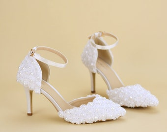 Ankle Strap Heels with White Rose Lace Pearled Handmade Women Party Shoes Pointed Toe Ankle Strap Shoes