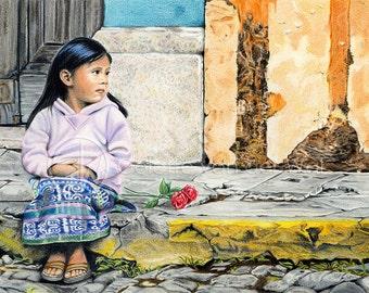 PATIENTLY WAITING (Geduldig wachten...) - Mexicaans meisje met rozen - Art Print van mijn Originele Illustratie - Formaat A3